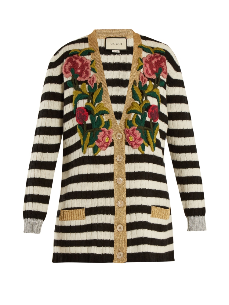 Striped V-neck cashmere-blend cardigan