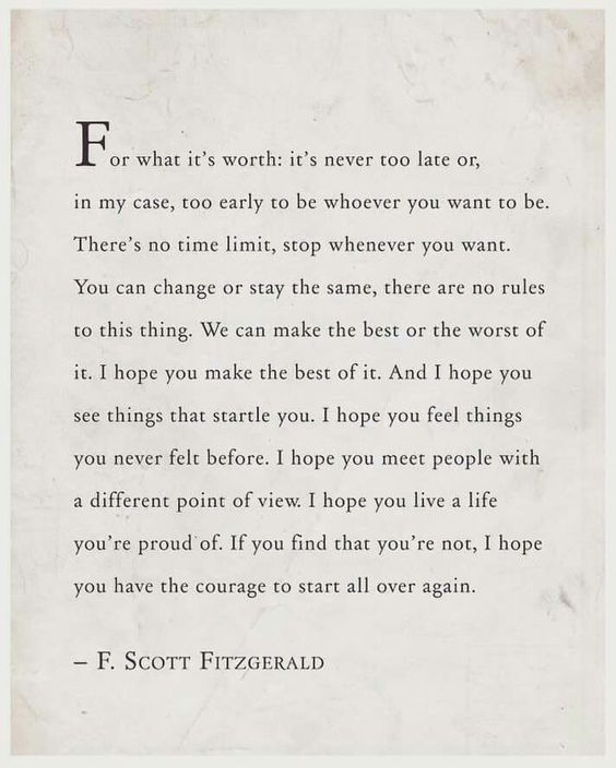 karrie bradshaw f scott fitzgerald quotes never too late